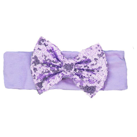 Lavender Sequin Bow Headband Purple