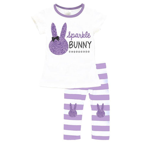 Lavender Stripe Bunny Outfit Sparkle Purple Top And Leggings