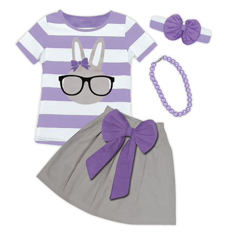 Lavender Stripe Purple Bow Bunny Top And Skirt