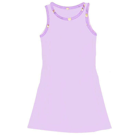 Lavender Tank Dress Sparkle Gold Purple Polka Dot