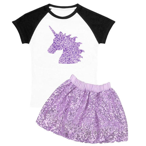 Lavender Unicorn Outfit Sparkle Sequin Raglan Top And Skirt