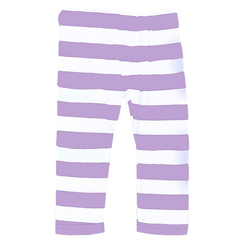Lavender White Stripe Leggings Purple