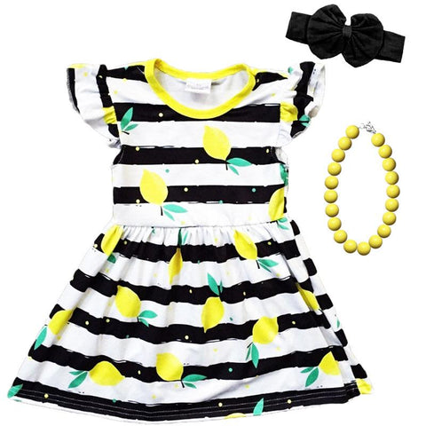 Lemon Dress Black Stripe Yelllow Polka Dot