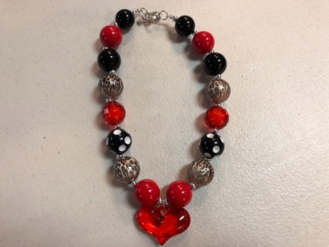 Leopard Heart Necklace Red Black Chunky Gumball