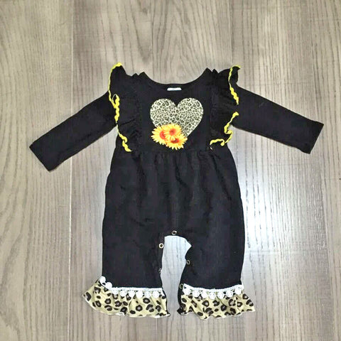 Leopard Heart Sunflower Pom Romper