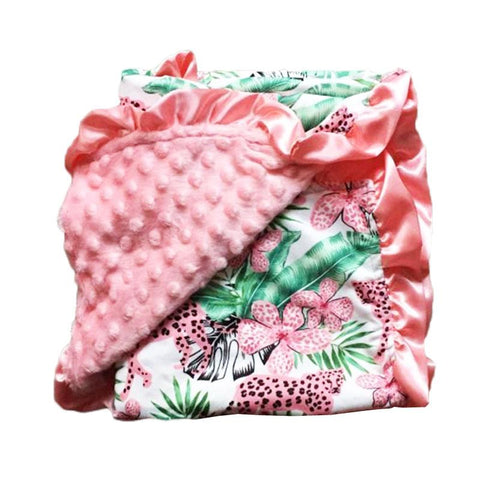 Leopard Jungle Pink Minky Blanket