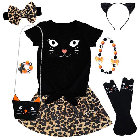 Leopard Kitty Cat Outfit Black Top And Skirt