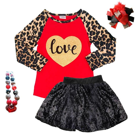 Leopard Love Shirt Gold Sparkle Heart Red Raglan