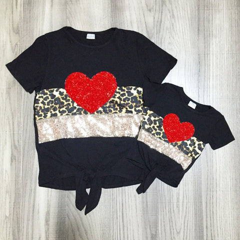 Leopard Red Glitter Heart Sequin Tie Black Top Mommy And Me