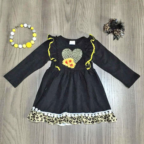 Leopard Sunflower Heart Ruffle Pom Black Dress Necklace And Hair Bow Set