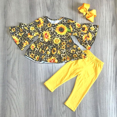 Leopard Sunflower Ruffle Mustard Top Pants And Hair Bow Set