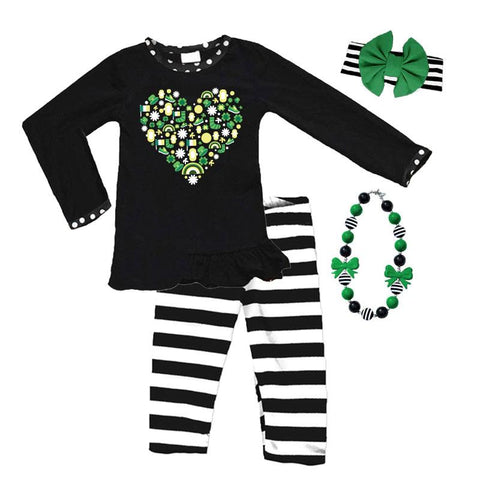 Leprechaun Black Stripe Outfit Heart Top And Capri