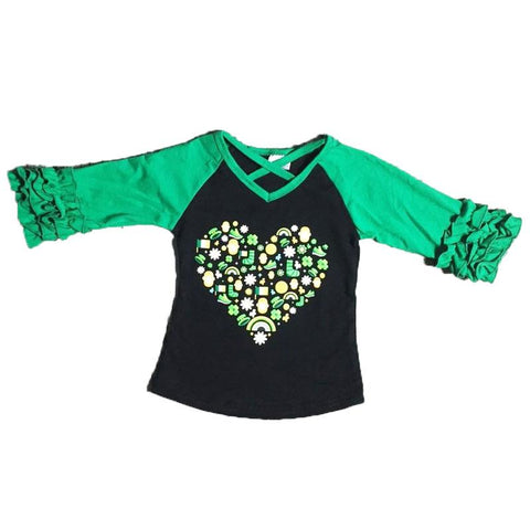 Leprechaun Raglan Shirt Black Green Ruffle