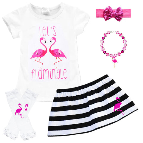 Lets Flamingle Outfit Pink Flamingo Black Stripe Top And Skirt