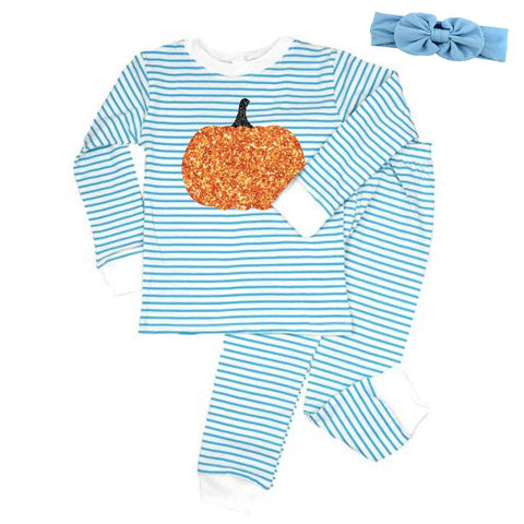 Light Blue Stripe Pumpkin Pajamas Sparkle