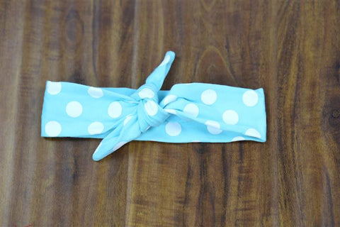 Light Blue White Polka Head Wrap