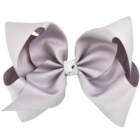 Light Gray Hair Bow 8 Inch