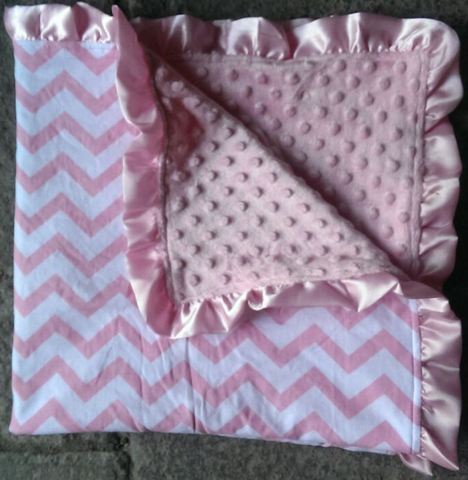 Light Pink Chevron Minky Blanket