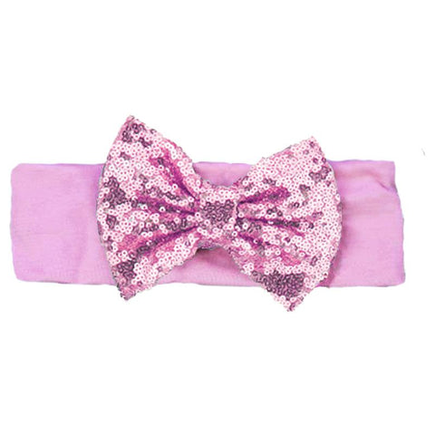 Light Pink Sequin Bow Headband