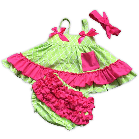 Lime Moroccan Pink Ruffle Two Piece
