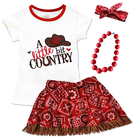 Little Bit Country Red Bandana Fringe Top And Skirt