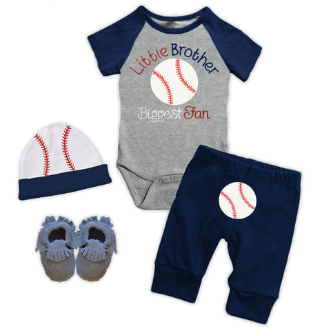 Little Brother Biggest Fan Onesie Pant Set