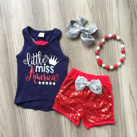 Little Miss America Navy Top And Sequin Shorts