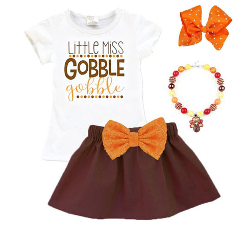 Little Miss Gobble Gobble Outfit Orange Sequin Top And Skirt