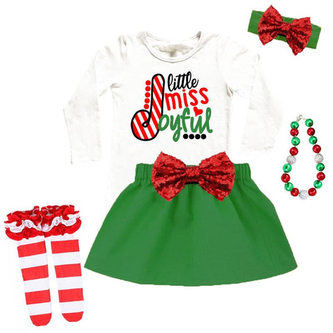 Little Miss Joyful Outfit Green Red Top And Skirt