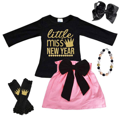 Little Miss New Year Outfit Gold Black Pink Top And Skirt
