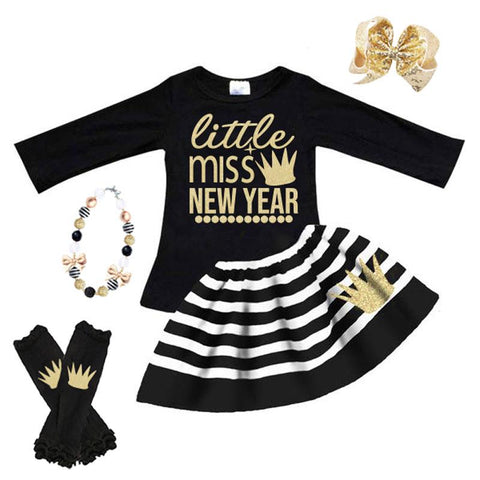 Little Miss New Year Outfit Gold Crown Black Stripe Top And Skirt