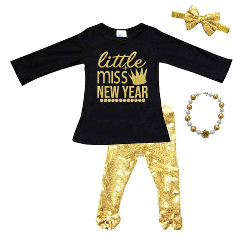 Little Miss New Year Outfit Gold Sequin Top And Pants