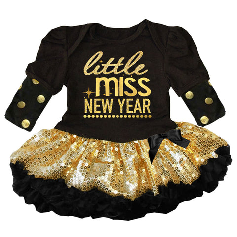 Little Miss New Year Outfit Gold Sequin Tutu Dress
