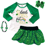 Little Miss Pot Of Gold Outfit Green Sequin Top And Skirt