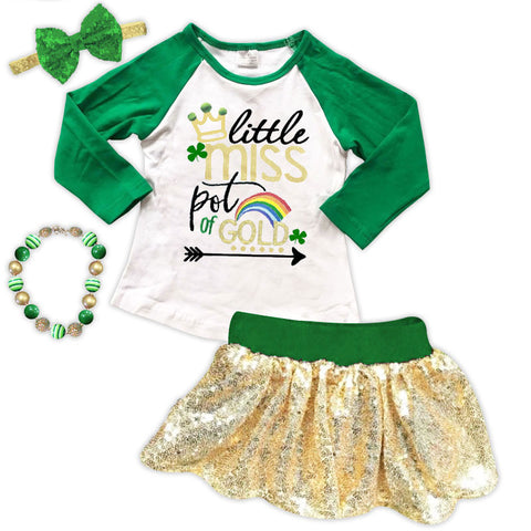 Little Miss Pot Of Gold Top And Skirt