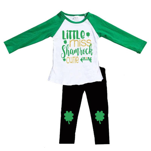 Little Miss Shamrock Cutie Outfit Gold Sequin Top And Pants