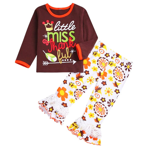 Little Miss Thankful Outfit Brown Lace Ruffle Top And Pants