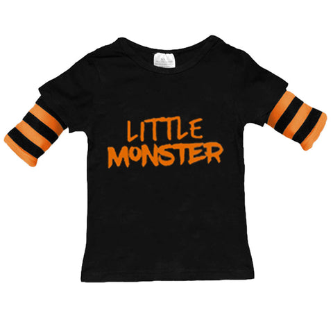 Little Monster Black Orange Stripe Shirt