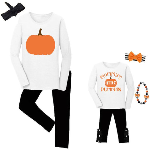 Little Pumpkin Outfit Mommy And Me Top And Pants