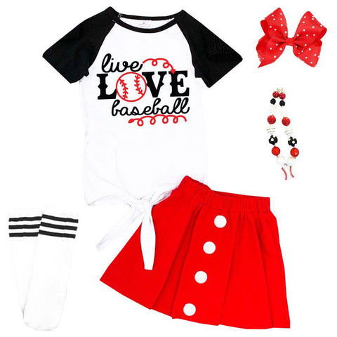 Live Love Baseball Outfit Black Raglan Top And Skirt
