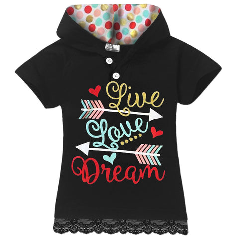 Live Love Dream Red Polka Hoodie