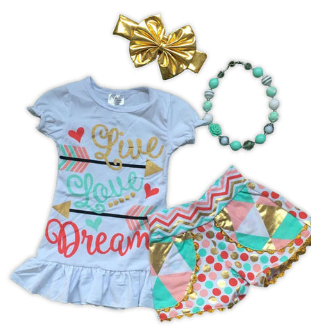 Live Love Dream Shorts Set