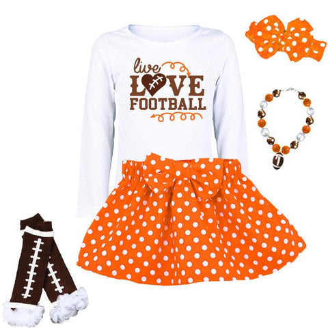 Live Love Football Shirt Orange Brown White