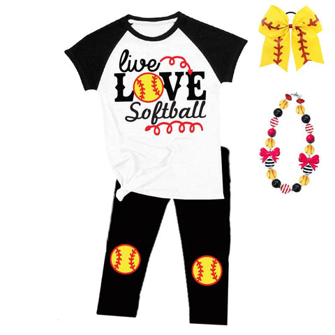Live Love Softball Outfit Raglan Top And Pants