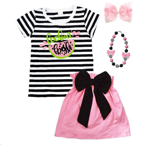 Lookin Fresh Watermelon Outfit Black Stripe Top And Skirt Mommy And Me