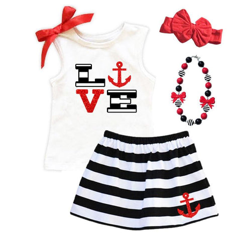 Love Anchor Outfit Red Sparkle Tank Top And Skirt