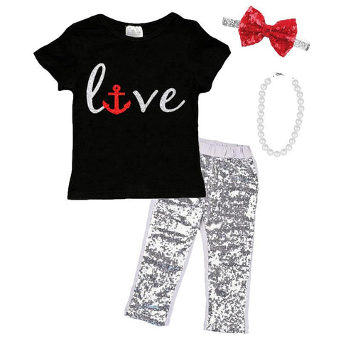 Love Anchor Shirt Silver Red Sparkle Black