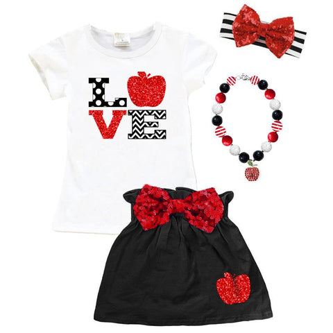 Love Apple Shirt Black Red Sparkle