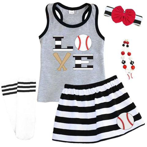 Love Baseball Outfit Black Stripe Gray Tank Top And Skirt