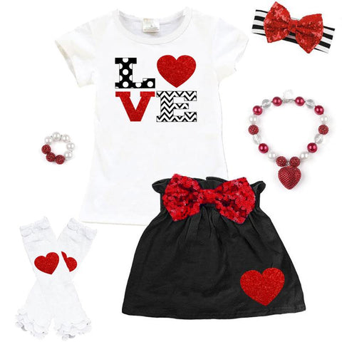 Love Chevron Outfit Polka Dot Red Sequin Top And Skirt